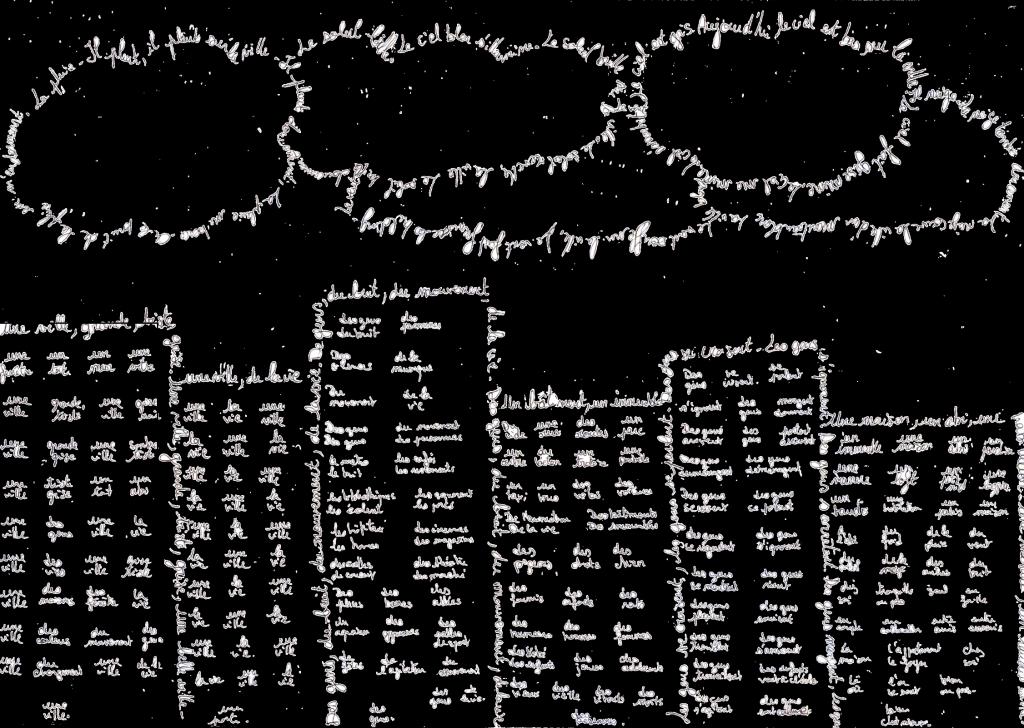ville calligramme négatif R